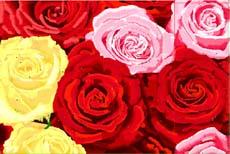 三色玫瑰-电脑乱针绣图片图案花样