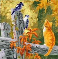 猫儿戏鸟5050乱针绣