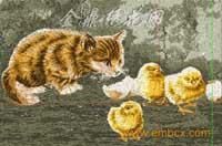 猫儿与小鸡4060乱针绣